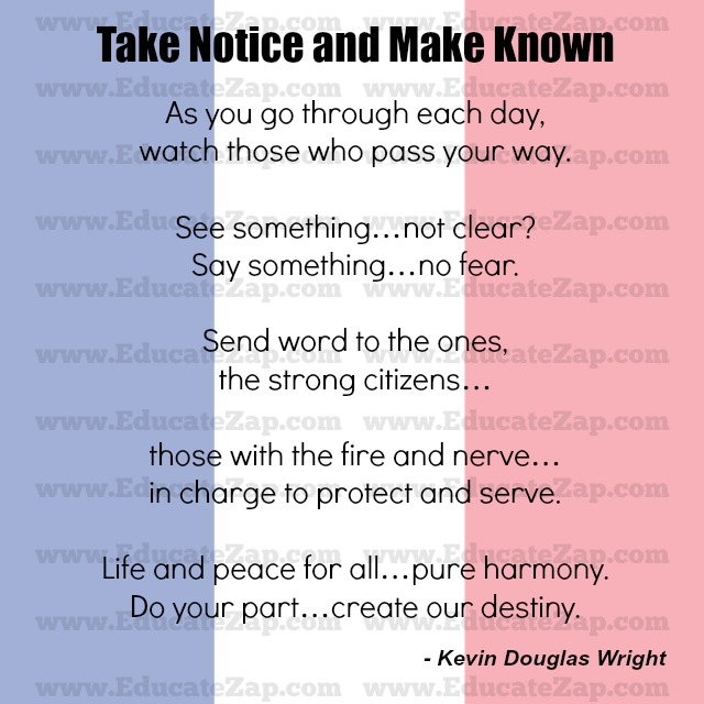 Take Notice and Make Known poem photo image