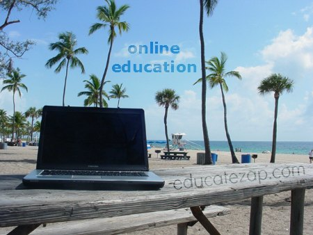 E-learning at the beach makes education fun and easy.