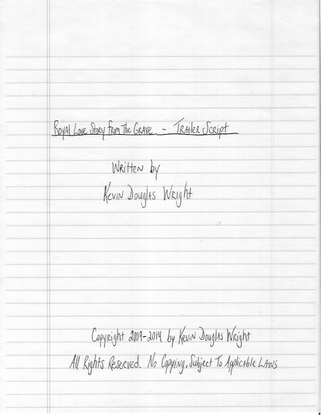Sample Film Script - Title Page - Hand-Written