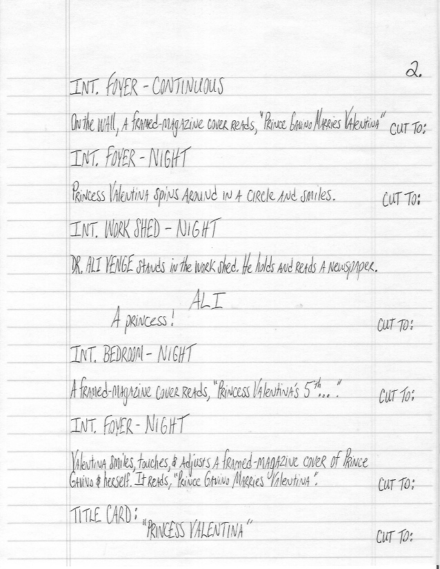 Sample Screenplay Page 2 Hand-Written