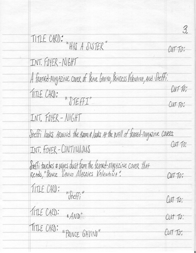Sample Screenplay Page 3 ( Hand-Written )
