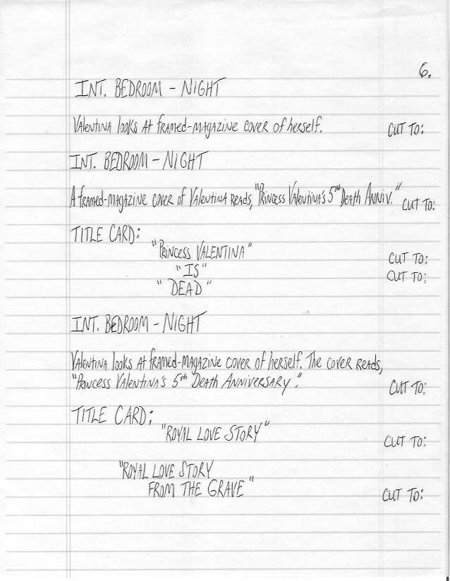 Sample Screenplay Page 6 Hand-Written