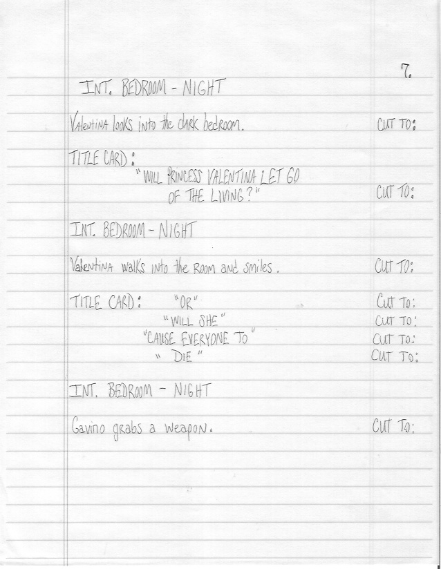 Sample Screenplay Page 7 Hand-Written