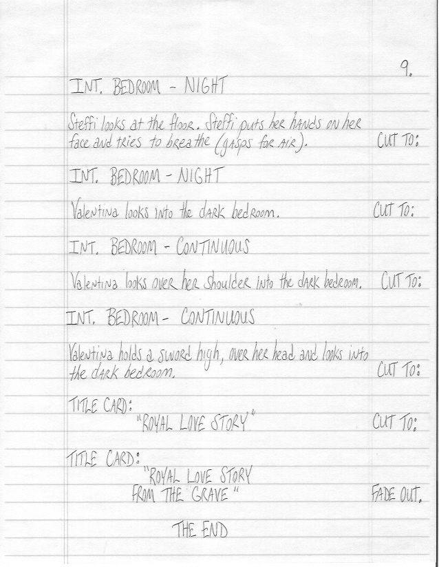 Sample Screenplay Page 9 Hand-Written