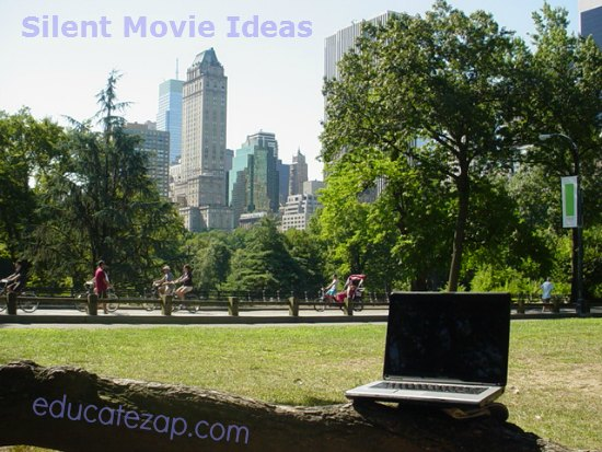 Writing silent film ideas with computer in Central Park