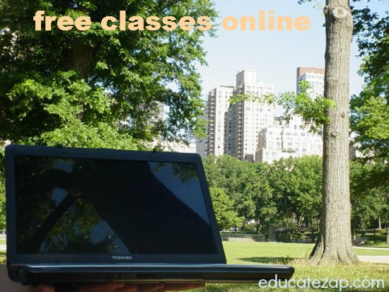 Taking Free Courses Online by Laptop in Central Park, New York