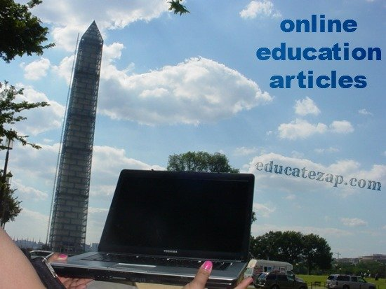Online Education Stories by Laptop near Washington Monument