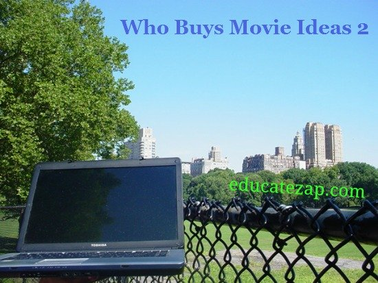 In Central Park, using laptop to find film script buyers.